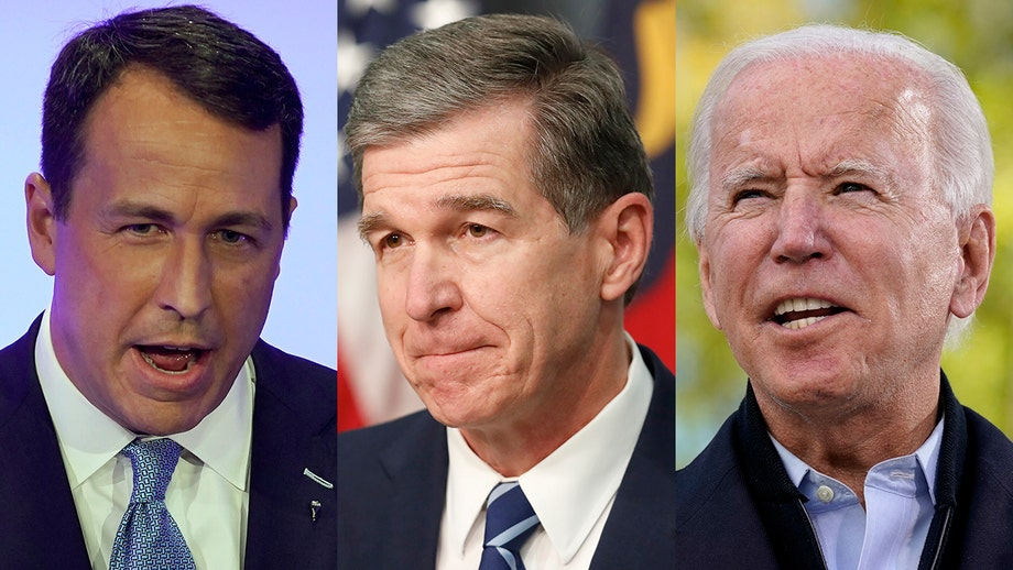 NC governor caught on hot mic telling Biden they'll drag Cal Cunningham 'across the line' after scandal
