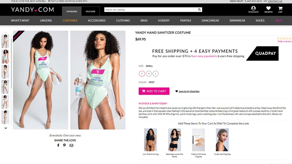 Online retailer Yandy has transformed hand sanitizer and banana bread into revealing Halloween costumes