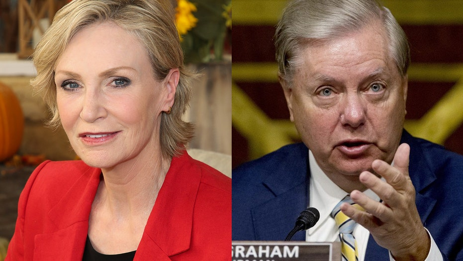 Jane Lynch mocks Sen. Lindsey Graham for aside about campaign financing during Amy Coney Barrett hearing