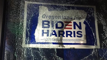 Biden target of profane graffiti in Portland, as crowd smashes windows at Democratic campaign office