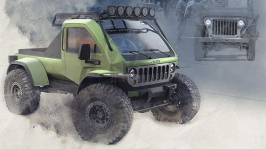 This baby hybrid Jeep pickup concept was inspired by the WW2 Willys