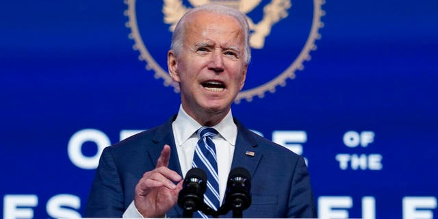 FILE: President-elect Joe Biden speaks at The Queen theater in Wilmington, Del.