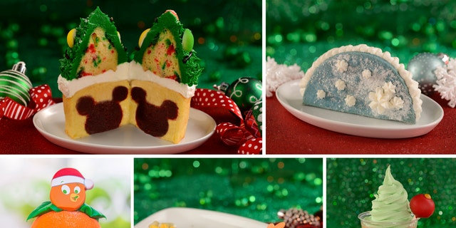 Pictures from left to right: Twice a Cupcake, Let a Snow Taco, A Bird Christmas, Churros Chip and Dale Christmas and Pistachio Chai Tea.  (Source: Disney Parks Blog)