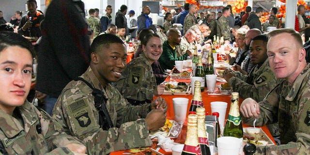 Soldiers at Bagram Airfield in Afghanistan enjoy Thanksgiving dinner in 2018. While this year's Thanksgiving meal may look different, the Defense Logistics Agency Troop Support has been providing traditional Thanksgiving food to field kitchens, dining facilities and galleys to locations in the United States and around the world.