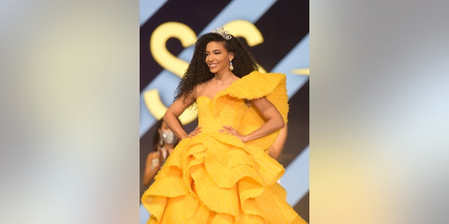 Miss USA 2019 Cheslie Kryst on stage at the Miss USA 2020 competition.