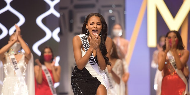 Asya Branch, Miss Mississippi USA 2020, is announced Miss USA 2020 winner, on stage at the Miss USA Competition at Graceland in Memphis Tennessee.