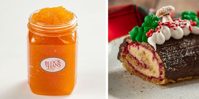 Photo from left to right: Frozen apple pie with thorns and Maple Bûche de Noël.  (Source: Disney Parks Blog)