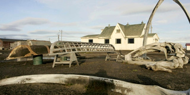 In this Aug. 12, 2005, lêerfoto, a skin boat display sits next to whale bones and an arch made of a whale jaw on the beach at Brower's Cafe in Barrow, Alaska.