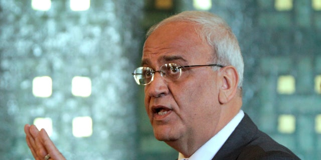 Chief Palestinian negotiator Saeb Erekat, speaks during a press conference at the Arab League headquarters in Cairo, Egypt on Oct. 2, 2011. (AP Photo/Amr Nabil, File)