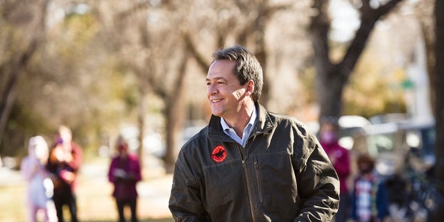 "Gov. Steve Bullock speaks at a Democratic Party ""Get Out The Vote"" rally on Saturday in Bozeman."