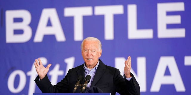 Democratic presidential candidate former Vice President Joe Biden speaks at a rally at Cleveland Burke Lakefront Airport, Monday, Nov. 2, 2020, in Cleveland. (AP Photo/Andrew Harnik)
