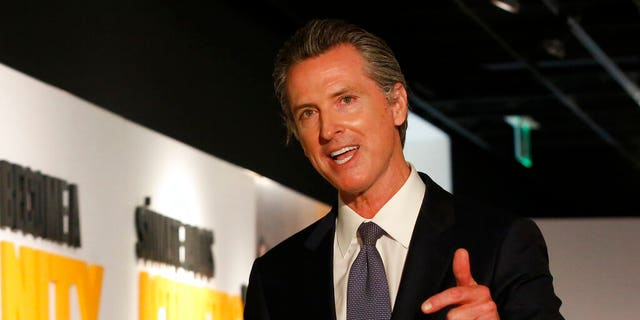 FILE: Gov. Gavin Newsom speaks during a news conference in Sacramento, Calif.