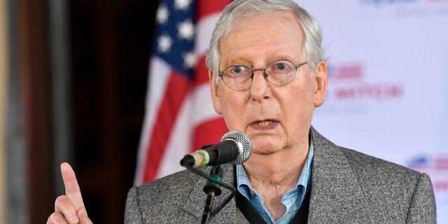 Il leader della maggioranza al Senato Mitch McConnell, R-Ky., speaks to supporters in Lawrenceburg, Ky. (AP Photo/Timothy D. Easley, File)
