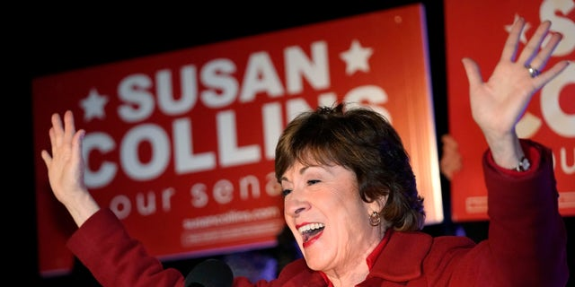 Maine Senator Susan Collins addressed supporters in Bangor, Maine after midnight on Wednesday, November 4, 2020.  (Associated Press)