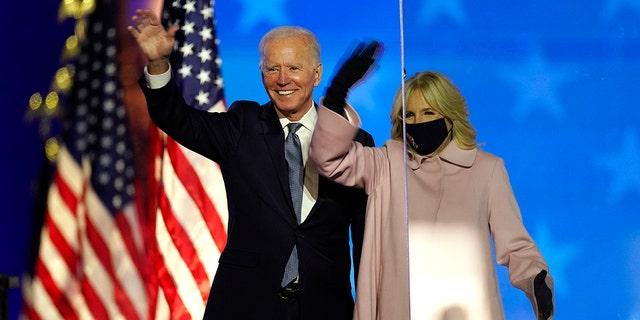 President-elect Joe Biden is pictured with his wife Jill Biden on Wednesday, Nov. 4, 2020, in Wilmington, Delaware.