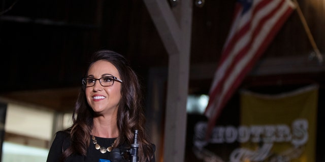 Republican candidate for the U.S. House seat in Colorado's 3rd Congressional District, Lauren Boebert, is interviewed before her watch party at her restaurant, Shooter's Bar and Grill, late Tuesday, Nov. 3, 2020, in Rifle, Colo. (McKenzie Lange/The Grand Junction Daily Sentinel via AP)