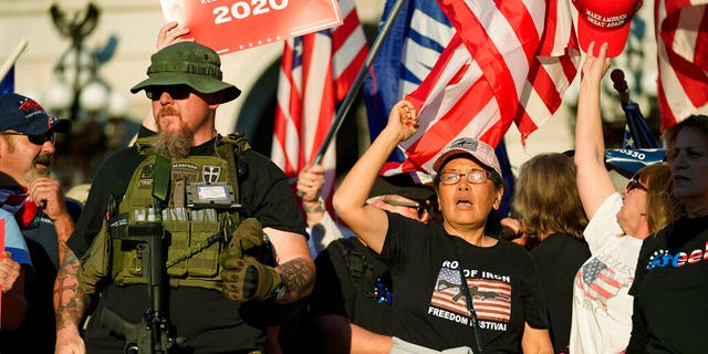 Supporters of President Donald Trump demonstrate outside the Pennsylvania State Capitol, Nov. 7, in Harrisburg, Pa., after Democrat Joe Biden defeated Trump to become 46th president of the United States. (AP Photo/Julio Cortez)