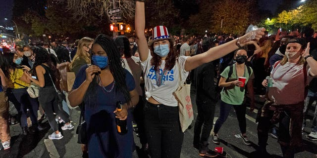 Revelers celebrate in Fort Greene park after former vice president and Democratic presidential candidate Joe Biden was announced as the winner of the 2020 election on Saturday, Nov. 7, 2020, in New York. (AP Photo/Mary Altaffer)