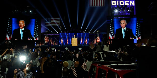 Biden victory-speech event mixes jubilation with social distancing