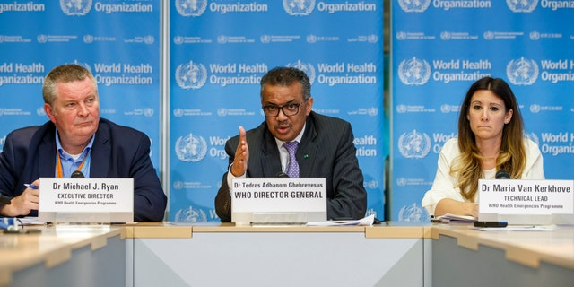 Tedros Adhanom Ghebreyesus, director general of the World Health Organization, center, pictured in early March during a news conference on COVID-19, at the WHO headquarters in Geneva, Switzerland. (Salvatore Di Nolfi/Keystone FILE via AP)
