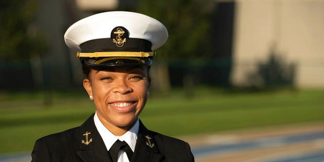 Barber became the Naval Academy's first African American female brigade commander, leading 4,500 midshipmen until she graduates. (Petty Officer 2nd Class Nathan Burke/U.S. Navy via AP)