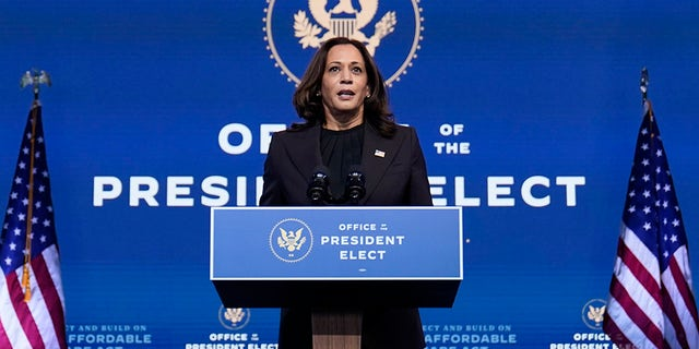 Vice President-elect Kamala Harris speaks at The Queen Theater, martedì, Nov. 10, 2020, a Wilmington, Del. (AP Photo / Carolyn Kaster)