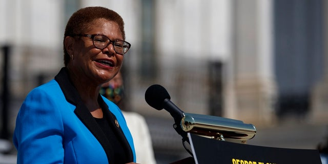 U.S.Rep. Karen Bass, D-Calif., seen outside the U.S. Capitol on June 25, 2020, is among the sponsors of a police reform bill in Congress. (Associated Press)