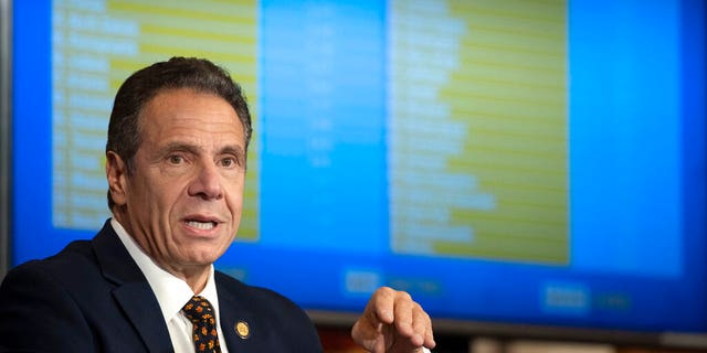 In this Oct. 21, photo provided by the Office of Governor Andrew M. Cuomo, Gov. Cuomo provides a coronavirus update during a news conference in the Red Room at the State Capitol in Albany, N.Y. (Mike Groll/Office of Governor Andrew M. Cuomo)