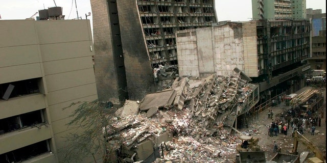 On August 8, 1998, other damaged buildings in the Kenyan city of Nairobi were abandoned after the explosion at the United States Embassy, Kenya, in Dar es Salaam, Tanzania.  The United States and Israel worked together earlier this year to track down and kill Abu Mohammed al-Masri, a senior member of al-Qaeda in Iran.  Al-Masri was locked in a Tehran street on August 7, 2020, on the anniversary of the 1998 bombing of the US embassies in Tehran, Kenya, and Dar es Salaam, Tanzania.  (AP Photo / Dave Culkin, File)