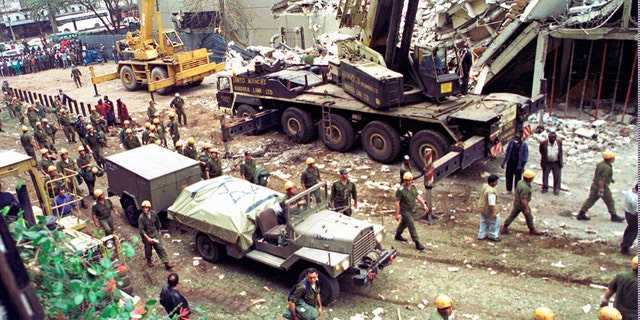 On August 9, 1998, Israeli troops bring heavy equipment to the wreckage of Uffundi House, adjacent to the US Embassy in Nairobi.  The United States and Israel worked together to track down and kill al-Qaeda senior member Abu Mohammed al-Madri.  Earlier this year the operative in Iran, a bold intelligence operation by two affiliated countries that came in the form of the Trump administration, was increasing pressure on Tehran.  (AP Photo / Syed Azim, File)