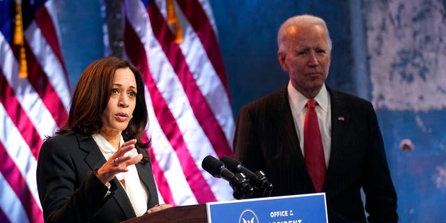 Vice President-elect Kamala Harris is nearly 20 years younger than President-elect Joe Biden. They are seen here at The Queen theater, Thursday, Nov. 19, 2020, in Wilmington, Del. (Associated Press)