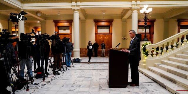 Georgia Secretary of State Brad Raffensperger speaks during a news conference on Nov. 20, 2020, in Atlanta. (AP Photo/Brynn Anderson)