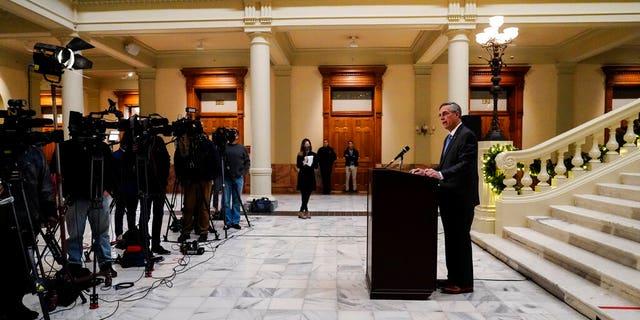 Georgia Secretary of State Brad Raffensperger speaks during a news conference on Nov. 20, 2020, in Atlanta. (AP Photo/Brynn Anderson)