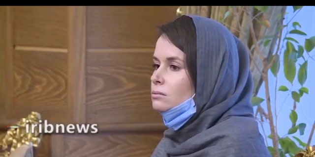 In this frame grab from Iranian state television video aired Nov. 25, British-Australian academic Kylie Moore-Gilbert is seen in Tehran, Iran. Iran has freed Moore-Gilbert, who has been detained in Iran for more than two years, in exchange for three Iranians held abroad, state TV reported Wednesday. (Iranian State Television via AP)