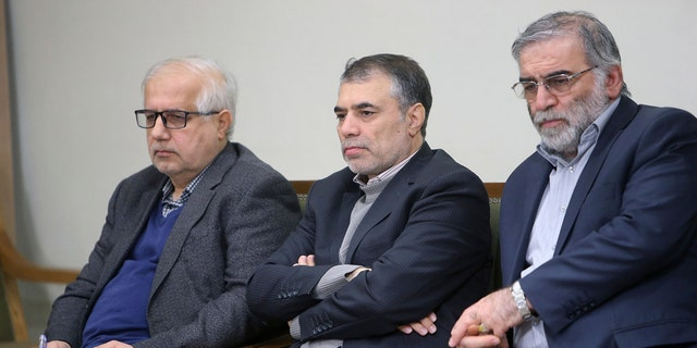 Mohsen Fakhrizadeh, right, sits in a meeting with Supreme Leader Ayatollah Ali Khamenei in Tehran in January 2019. (Office of the Iranian Supreme Leader via AP)