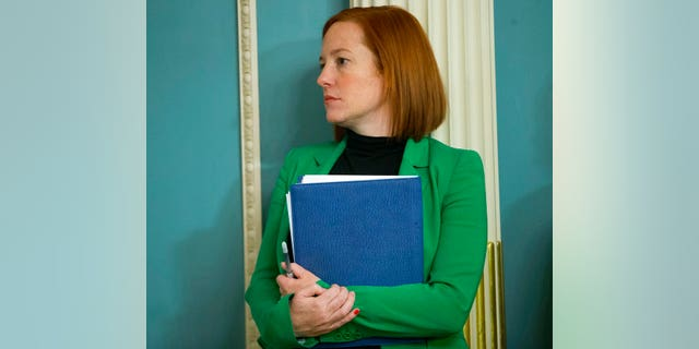 State Department spokeswoman Jen Psaki stands in on a meeting in Washington, Friday, Feb. 27, 2015.