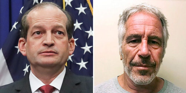 "The Justice Department said Thursday that then-U.S. Attorney Alexander Acosta (left) exercised ""poor judgment"" while brokering a 2008 plea deal to end a federal probe into billionaire sex offender Jeffrey Epstein (right)."