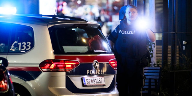 A police officer with a flashlight stays in position at the scene after gunshots were heard in Vienna. (Photo/Ronald Zak)