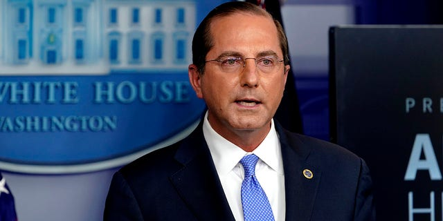 Secretary of Health and Human Services Alex Azar speaks at a press conference in the briefing room of the White House in Washington on Friday, November 20, 2020.