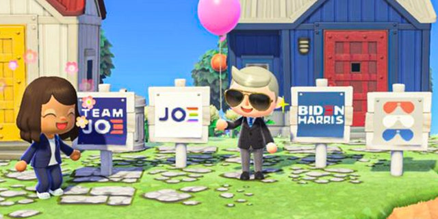 "Avatars for Sen. Kamala Harris, D-Calif., and then-candidate Joe Biden in ""Animal Crossing"""