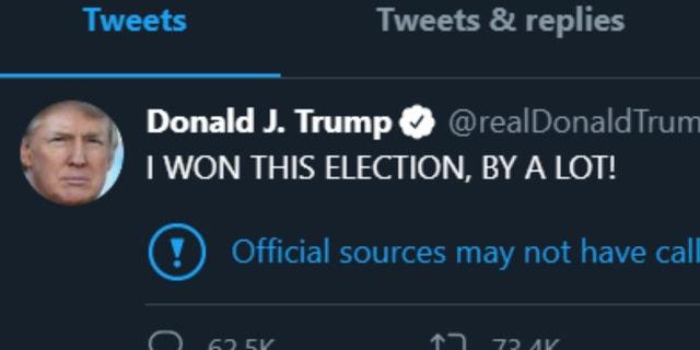 Twitter label on Trump tweets (screenshot: FBN)