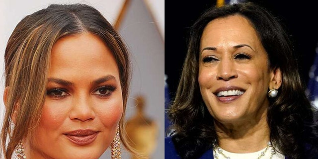 Chrissy Teigen is on an emotional high after receiving a hug from Sen. Kamala Harris at a rally for the Democratic vice presidential nominee on Monday.