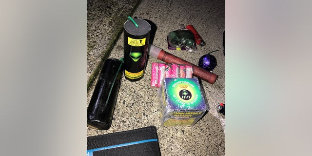 Unified Command released a photo showing the commercial-grade fireworks seized from Beecher at the time of his arrest.