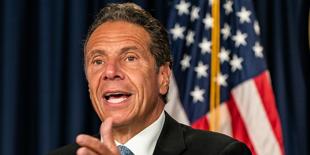 New York Gov. Andrew Cuomo speaks during the daily media briefing at the Office of the Governor of the State of New York on July 23, 2020 in New York City.  (Getty Images)
