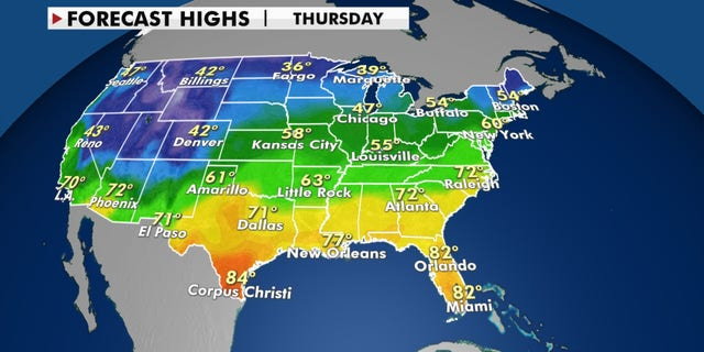 Forecast highs for Thanksgiving day, 2020.