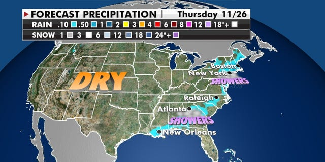 Forecast precipitation for Thanksgiving Day, 2020.