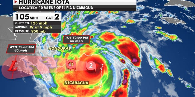 Hurricane Iota made landfall on the coast of Nicaragua on Nov. 16, 2020.