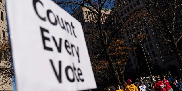 Protesters attend a rally calling for every vote to be counted from yesterday's general election near the Detroit Department of Elections building in Detroit, Nov. 4, 2020. (Associated Press)