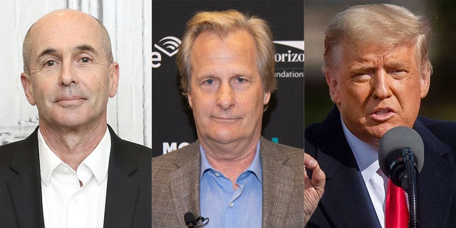 Don Winslow (left) produced a Michigan-centric ad narrated by Jeff Daniels (center) taking aim at President Trump (right).