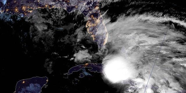 Tropical Storm Eta can be seen over Cuba as the storm moves near southern Florida on November 8, 2020.